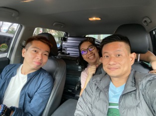 Taking a wefie in the car before we set off