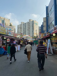 We stumbled into a local market opposite Suwon Station