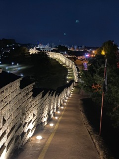 Hwaseong Fortress illuminated at night