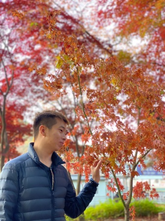 My friend with the red maple leaves