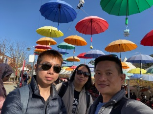 Wefie with the umbrellas that dotted the sky at Gangchon Rail Park
