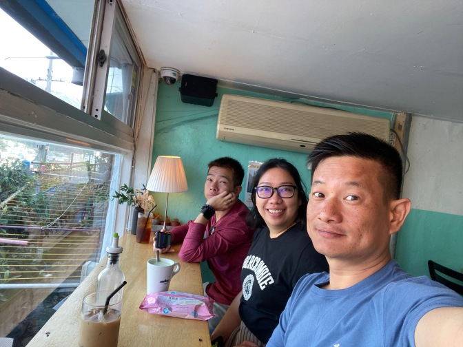 Wefie at a cafe in Gamcheon Culture Village