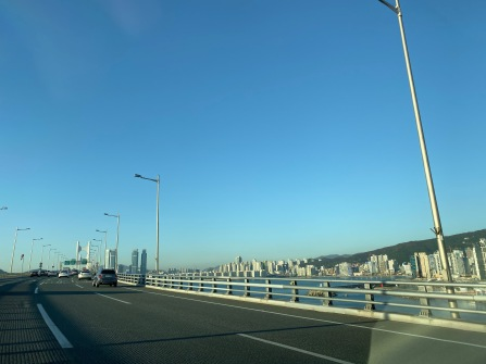Traffic was light in Busan at the time of our departure