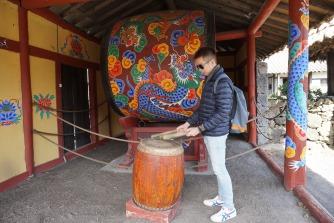 My friend posing to play the Korean drum
