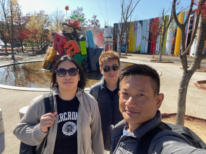Taking wefie in Gangchon Rail Bike Park