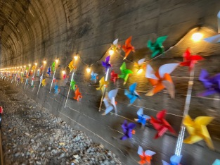 The first tunnel is decorated with pinwheels