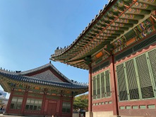 Bright green and red colour schemes is typical of Korean ancient architecture