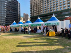 Farmers from all over South Korea set up stalls here
