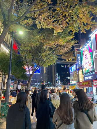 Myeongdong is crowded tonight