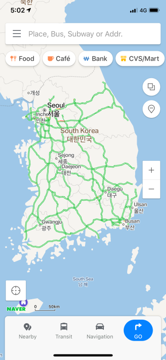 Naver Map App interface